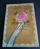 Vintage Rust Craft Greeting Card Happy Birthday My Wife Rose 50BF8082-1