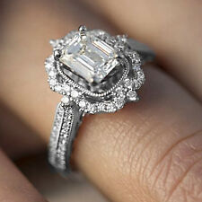 2.50 TCW Emerald Cut VVS1 Diamond Halo Engagement Ring 14K White Gold Over