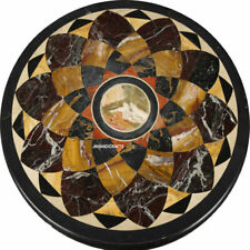 Round Marble coffee Table Top Inlay Work Handicraft luxurious Table Home Decor