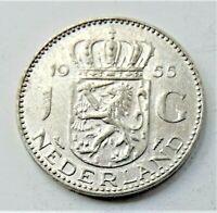 1955 NETHERLANDS Juliana, Silver 1 Gulden grading EXTRA FINE.