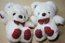 2Pc Russ White Plaid Twinkle Bears Collectible Toy Stuffed Animals