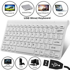 Slim USB Wired Mini Keyboard Qwerty UK Layout For Apple Mac PC Laptop Computer