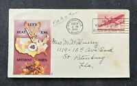 1943 Lets Beat Em Patriotic Airmail Cover Springfield MA to St Petersburg FL