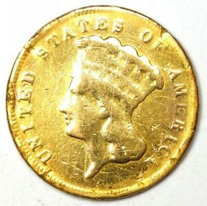 1878 Indian Three Dollar Gold Coin ($3) - Fine Details (Damage) - Rare Coin!