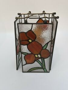 """Tiffany-Style Stained Glass Floral Design Pendant Lampshade Rectangular 6"""""""