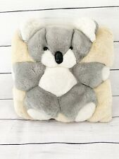 "Vintage Koala Bear Furry Pillow 11"" x11"""