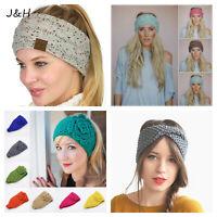 Ladies winter head wrap headband earmuff twist knot sports ski warm wool knitted