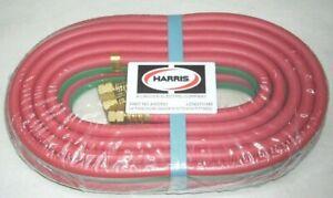 """Harris 4300591 Oxy-Acetylene Twin Welding Hose 1/4 x 20' w B-B 9/16"""" Fittings"""