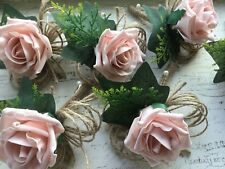 Vintage Dusky Pink Blush Pink Rose Buttonhole Rustic  Hessian Wedding Flowers X1