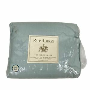NEW Vintage Ralph Lauren ALISSA ANEMONE Blue Jacquard Flat The Estate Sheet King