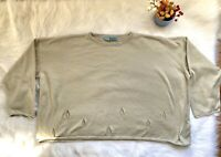 PLANET by LAUREN G Boxy Sweater cut-out holes Size OS Tan Beige Greenish EUC