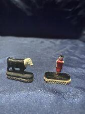 2 VINTAGE S Scale Figures Woman & Cow