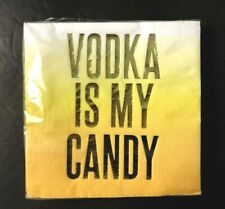 "Slant Foil Halloween Cocktail Napkins 20 count ""Vodka Is My Candy"" 5"" Square NEW"