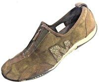 MERRELL Womens Barrado Sneakers Flats Brown Suede Zip Shoes Size 8