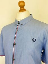 Fred Perry | Chain Tipped Button Down Collar End On End Cotton Shirt XXL|46 Blue