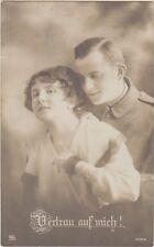 WWI GERMAN SOLDIER with WIFE Trust In Me Vertrau - Patriotic PC Feldpost 1917