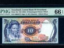 Swaziland:P-10c,10 Emalangeni,1985 * King Sobhuza II * PMG UNC 66 EPQ *