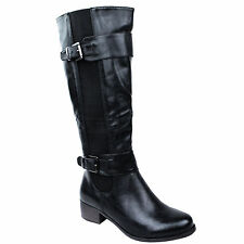 LADIES WOMENS KNEE HIGH WIDE LEG FLAT LOW HEEL STRETCH CALF RIDING BOOTS SIZE