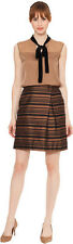 BNWT RAOUL Ladies Raoul Tulip Side Pleat Skirt SILK brown black USA10 UK 14 FR42