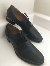 Luca Grossi Per Marzio Black Leather Sheepskin Lace-Up Shoes 38.5 US 8.5 Oxfords