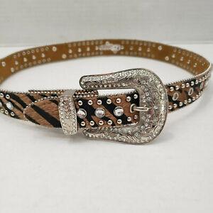 Nocona Women Bling Cowgirl Brown Black Leather Belt Silver Buckle Rhinestones 28