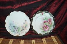 Two Haviland France Plates Hand Painted Floral Signed & Dated 8 5/8""