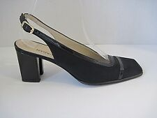 CHARLES JOURDAN Classic Black Fabric Patent Trim Slingbacks Heels SZ 7 B France
