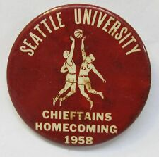 rare 1958 SEATTLE U. CHIEFTAIN HOMECOMING pinback button Basketball Elgin Baylor