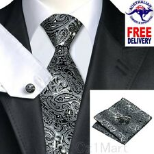 Premium Paisley Black Gray Men Tie Silk Jacquard Formal Wedding Cufflink Hanky