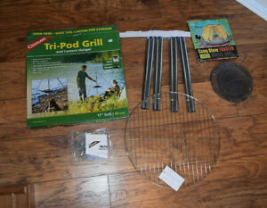 """Coghlan's Tri-Pod Camping 17"""" Grill & Lantern Hanger (New in open box) + TOASTER"""