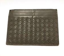 Authentic Bottega Venetta Interciato Grey Genuine Leather Card Holder Wallet
