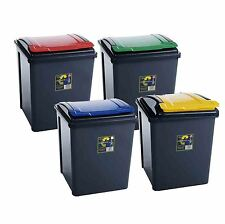 VFM Recycling Bin With Lid Red 50l 384289 Sby28524