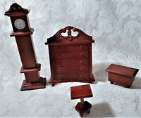 Dollhouse Miniature Furniture Grandfather Clock Tables Dresser Vtg Wood Lot of 4