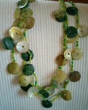 Mother-of-pearl Shell Pendant Necklace Small Beaded Green And