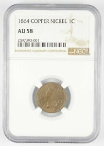 AU58 1864 Indian Head Cent - Copper Nickel - Graded NGC *3008