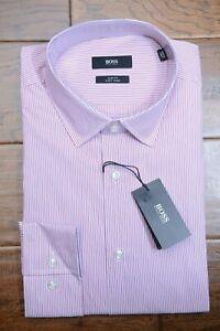 Hugo Boss Men's Jenno Slim Fit Easy Iron Cotton Pink Striped Dress Shirt 39 15.5