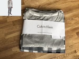 Calvin Klein Pants Pyjama Set Grey Long Sleeve Top & Plaid Check Bottom RRP £65