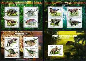 ERITREA 2017 SET OF 4 MINI SHEETS PRIVATE ISSUE IMPERF PREHISTORIC DINOSAURS