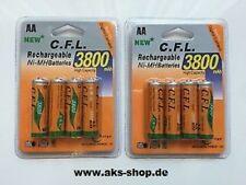 8x C.F.L Rechargeable AA / NiMH Batteries 3800 mAh Battery NEU