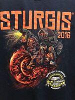 Sturgis 2016 76th Annual Bike Motorcycle  Skulls, Black Mens SZ X Large Official