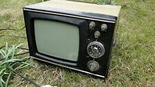 Vintage Soviet USSR Portable B&W Analog TV Early Metal Case Model