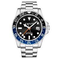 Stuhrling 3965 1 Aquadiver Swiss Quartz GMT Date Stainless Steel Mens Watch