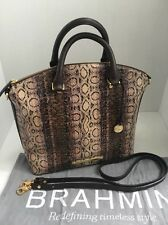 New NWT Brahmin Duxbury Violet Cusco Python Emb Leather Satchel Handbag Org $345