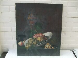 19TH CENTURY ITALIAN OIL ON CANVAS STILL LIFE OF FRUIT, FLOWERS AND A GOBLET