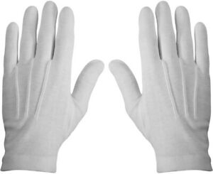 White Cotton Parade Gloves Military Dress Formal Tuxedo Police Marching Band