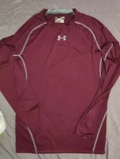 Boys Under Armour XL 14-16 Long Sleeve Heatgear Shirt Maroon