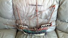 "Atq Wood Model Sailing Boat Handmade W Germany Ship 35x24"" Bull N.Y. Beer Barrel"