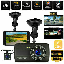 4'' HD 1080P Car DVR Camera Dash Cam Vehicle Dual Lens Video Recorder G-Sensor