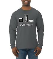 Never Forget Funny 90's Nostalgia Mens Long Sleeve T-Shirt Graphic VHS Humor Tee
