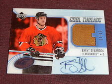 05-06 UD Ice Brent Seabrook AUTO Jersey RC 7/35 1/1 His Jersey # Cool Threads